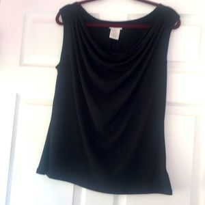 Black sleeveless shell top with swooped neck